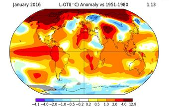 January was the ninth straight month of record-breaking global warmth