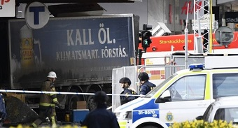 Truck drives into crowds in Stockholm