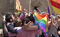 Protests against a Catholic bishop for his views about homosexuality