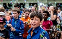 Kids celebrate Christian youth movements in front of Swiss parliament