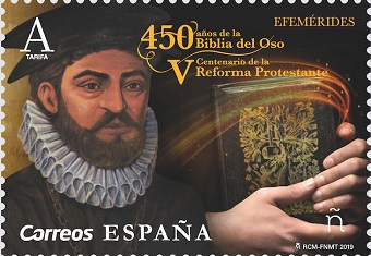 A stamp in Spain recognises Bible translator Casiodoro de Reina