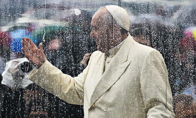 Pope, rain, artistic