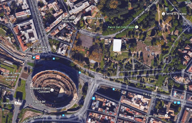 colle oppio, colosseum, view, google earth
