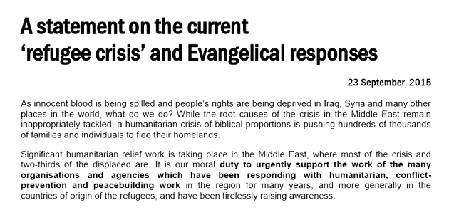 eea statement, refugees, 2015, European Evangelical Alliance