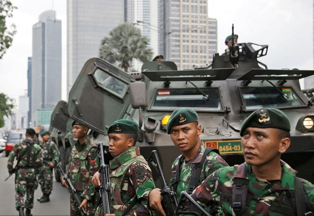 jakarta, indonesia, soldiers, 14 january