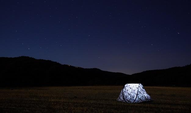 tent, night, stars
